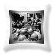 Fruit Seller Blue City Street India Rajasthan Bw 1b Throw Pillow