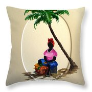 Fruit Seller Throw Pillow