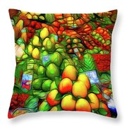 Fruit Stand At La Boqueria Throw Pillow