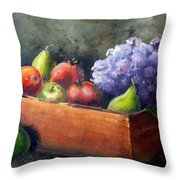 Fruit With Hydrangea Throw Pillow