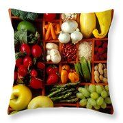 Fruits And Vegetables In Compartments Throw Pillow