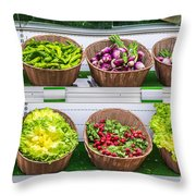 Fruits And Vegetables On A Supermarket Shelf Throw Pillow