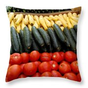Fruits And Vegetables On Display 1 Throw Pillow