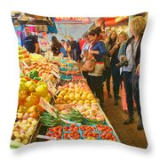 Fruits And Vegetables - Pike Place Market Throw Pillow