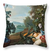 Fruits Flowers And Vegetables In A Landscape Throw Pillow