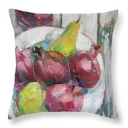 Fruits In Vintage Throw Pillow