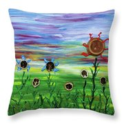 Fruity Flowerfield Throw Pillow