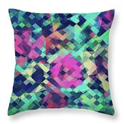Fruity Rose   Fancy Colorful Abstraction Pattern Design  Green Pink Blue  Throw Pillow