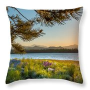 Frye Lake Flowers Throw Pillow