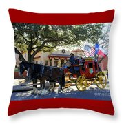 Ft Worth Stockyards Stagecoach  Throw Pillow