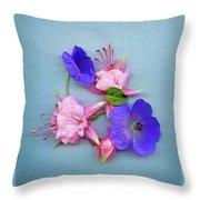 Fuchsia And Cranesbill Throw Pillow