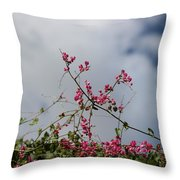 Fuchsia Mexican Coral Vine On White Clouds Throw Pillow