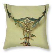 Fuchsia Necklace Alphonse Maria Mucha Throw Pillow