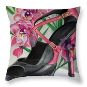 Fuchsia Orchid Colour Block Throw Pillow