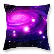 Fuchsia Pink Galaxy, Bright Stars Throw Pillow