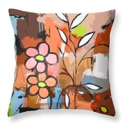 Fuddled Floral Throw Pillow