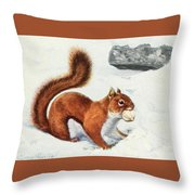 Fuertes, Louis Agassiz 1874-1927 - Burgess Animal Book For Children 1920 Red Squirrel Throw Pillow