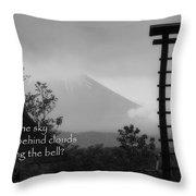 Fuji Bell Haiku Throw Pillow