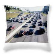 Fujifilm Instax Instant-film Picture Of Ih-35 Rush Hour Traffic  Throw Pillow