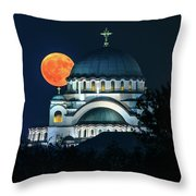 Full Blood Moon Over The Magnificent St. Sava Temple In Belgrade Throw Pillow