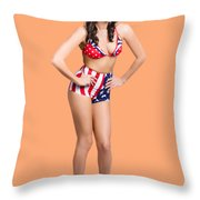 Full Body Pin-up Girl. American Retro Style Throw Pillow
