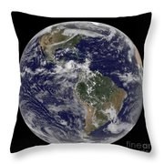 Full Earth Showing North America Throw Pillow
