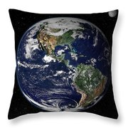 Full Earth Showing North And South Throw Pillow by Stocktrek Images