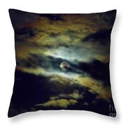 Full Moon And Clouds Throw Pillow