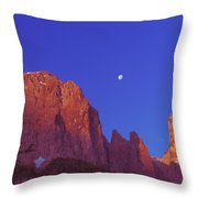 Full Moon At Dawn In The Dolomites Throw Pillow