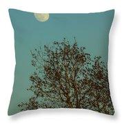 Full Moon At Sunset Throw Pillow