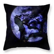 Full Moon Bats Throw Pillow