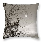 Full Moon Behind Cottonwood Tree Throw Pillow