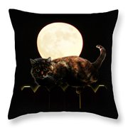 Full Moon Cat Throw Pillow