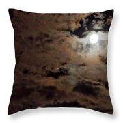 Full Moon Cloudy Night Throw Pillow