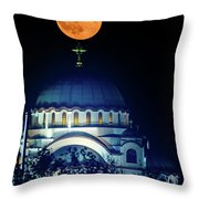 Full Moon Directly Over The Magnificent St. Sava Temple In Belgrade Throw Pillow
