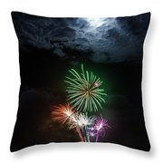 Full Moon Fireworks Throw Pillow