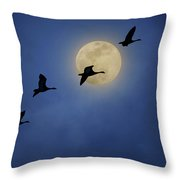 Full Moon - Geese Throw Pillow