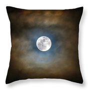 Full Moon In The Clouds Throw Pillow