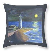 Full Moon Lighthouse Throw Pillow