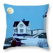 Full Moon Nubble Throw Pillow