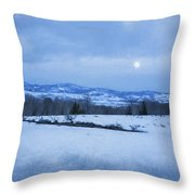 Full Moon Over A Field Of Snow Throw Pillow