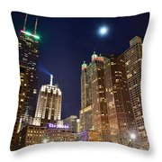 Full Moon Over Chi Town Throw Pillow