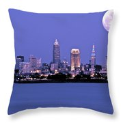 Full Moon Over Cleveland Throw Pillow