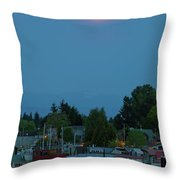 Full Moon Over Floating Homes On Columbia River Throw Pillow