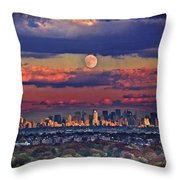 Full Moon Over New York City In October Throw Pillow