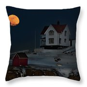 Full Moon Over Nubble Throw Pillow