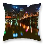 Full Moon Over Pittsburgh Throw Pillow