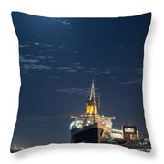 Full Moon Over Queen Mary Throw Pillow