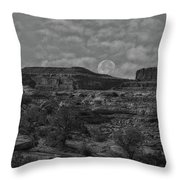 Full Moon Over Red Cliffs Bw Throw Pillow