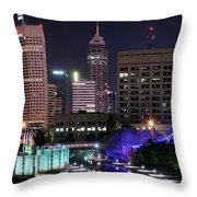 Full Moon Over The Canal Throw Pillow